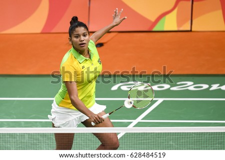 Rio de Janeiro, Brazil, 11 august 2016: The badminton player VICENTE Lohaynny (BRA) when playing against NEHWAL Saina (IND) during Olympic Games Rio 2016 at Riocentro Pavillon