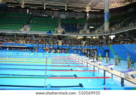 rio de janeiro brazil august 8 2016 the olympic aquatics center in