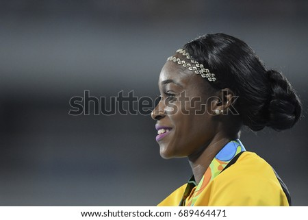 Rio de Janeiro, Brazil - august 18, 2016: women's 200m podium with Elaine THOMPSON (JAM) gold medalist during the 2016 Olympics Athletics held at the Olympic Stadium