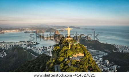 RIO DE JANEIRO, BRAZIL - CIRCA FEBRUARY 2016: Aerial view of Christ and Botafogo Bay from high angle. - stock photo