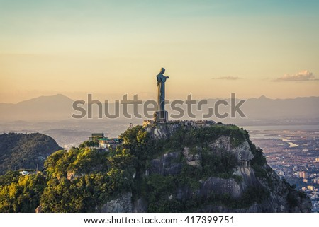 RIO DE JANEIRO, BRAZIL - CIRCA FEBRUARY 2016: Aerial view of Christ The Redeemer Statue with people visiting Corcovado Hill. - stock photo