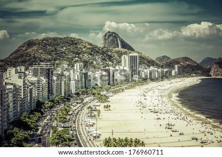 Rio de Janeiro, Brazil - Copacabana Beach with Sugar Loaf as background - stock photo