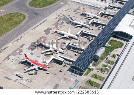 RIO DE JANEIRO, BRAZIL -DECEMBER 28, 2013: Santos Dumont airport at the shore of Guanabara Bay, domestic airport of Rio aerial view. - stock photo