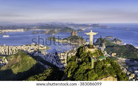 RIO DE JANEIRO, BRAZIL - FEBRUARY 2016: Aerial view of Christ and Botafogo Bay from high angle. - stock photo