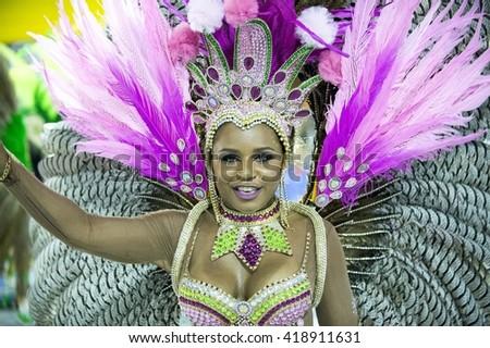 RIO DE JANEIRO, Brazil - february 07, 2016: Samba school parade Cubango during the 2016 carnival in Rio de Janeiro, the Sambodromo. Highlight dancer floor - stock photo