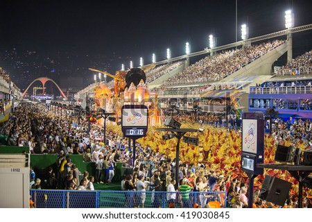 RIO DE JANEIRO, Brazil - february 07, 2016: Samba school parade Estacio during the 2016 carnival in Rio de Janeiro, the Sambodromo. - stock photo