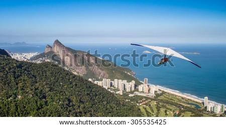 Rio de Janeiro, Brazil, hang gliding flight - stock photo