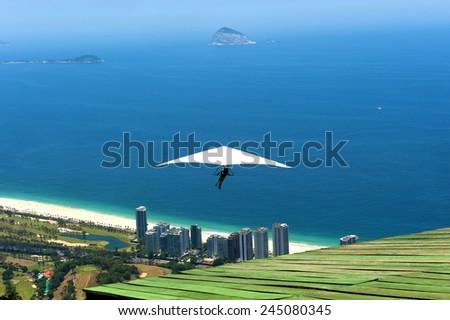 Rio de Janeiro, Brazil, hang gliding flygth - stock photo
