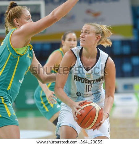 RIO DE JANEIRO, BRAZIL - january 15, 2015:  Agostina Burani in the match Argentina vs Australia for Basketball Test Event Female part of Rio2016 test events in the Olympic Park Arena 1