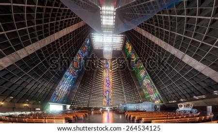 RIO DE JANEIRO, BRAZIL - JANUARY 28, 2015: Interior of Metropolitan cathedral in Rio de Janeiro, Brazil - stock photo
