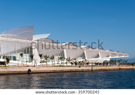 RIO DE JANEIRO, BRAZIL - JANUARY 6, 2016: Museum of Tomorrow in the newly rebuilt Maua Square is the latest attraction of the city.