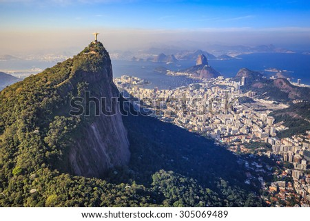 RIO DE JANEIRO, BRAZIL - JULY 17: Aerial view of Christ the Redeemer and Rio de Janeiro city on July 17, 2015.  - stock photo