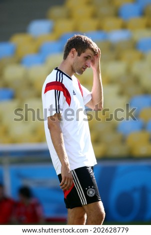 Rio de Janeiro, BRAZIL -July 3, 2014: Germany national football team practicing at Maracana training center in preparation for the 2014 World Cup soccer tournament. No Use in Brazil