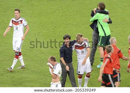 RIO DE JANEIRO, BRAZIL - July 13, 2014: Germany players celebrates after win the match during the 2014 World Cup Final game between Argentina and Germany at Maracana Stadium.  - stock photo