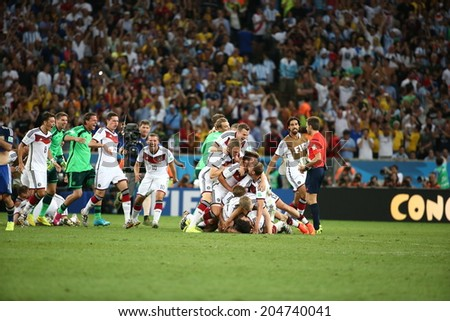 RIO DE JANEIRO, BRAZIL - July 13, 2014: Germany team celebrates after winning World Cup Final game between Argentina and Germany at Maracana Stadium. NO USE IN BRAZIL