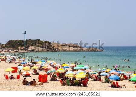Rio de Janeiro, Brazil - July 12, 2015: Ipanema Beach and Arpoador stone, Rio de Janeiro. - stock photo