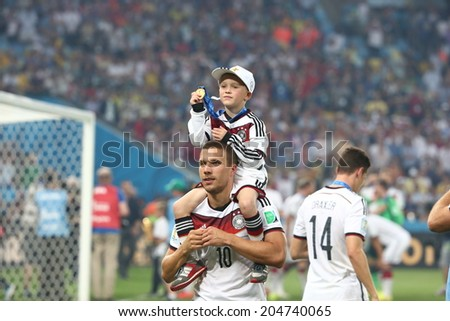 RIO DE JANEIRO, BRAZIL - July 13, 2014:  Lukas Podolski during the World Cup Final game between Argentina and Germany at Maracana Stadium. NO USE IN BRAZIL - stock photo