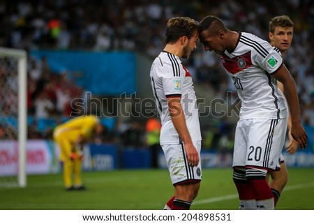 RIO DE JANEIRO, BRAZIL - July 13, 2014: Mario Gotze of Germany celebrates after scoring the victory goal during the 2014 World Cup Final game against Argentina at Maracana Stadium. NO USE IN BRAZIL.