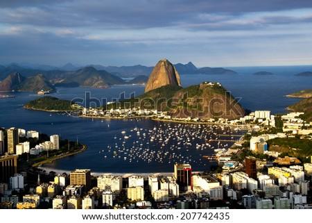RIO DE JANEIRO, BRAZIL - July 21, 2014: view from Corcovado Mountain, of Sugarloaf Mountain and Botafogo neighborhood.  - stock photo