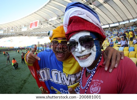 RIO DE JANEIRO, BRAZIL - June 25, 2014: France fans celebrating at the 2014 World Cup Group E game between Ecuador and France at Maracana Stadium. No Use in Brazil.