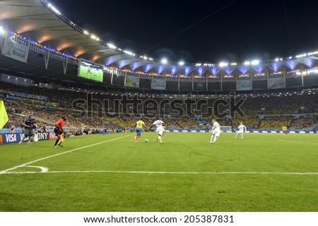 RIO DE JANEIRO, BRAZIL - June 25, 2014: France fans celebrating at the 2014 World Cup Group E game between Ecuador and France at Maracana Stadium.