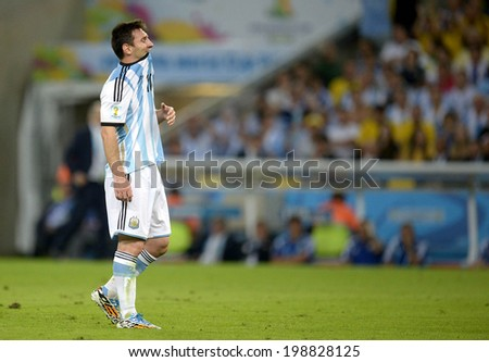 RIO DE JANEIRO, BRAZIL - June 15, 2014: Messi at World Cup Group F game between Argentina and Bosnia at Maracana Stadium. No Use in Brazil.