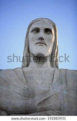 RIO DE JANEIRO, BRAZIL - JUNE 18, 2010: portrait corcovado christ redeemer in rio de janeiro brazil - stock photo
