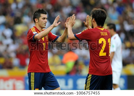 Rio de Janeiro, Brazil, June 20, 2013. Spanish football player David Villa celebrating his goal in the game against Tahiti in the 2013 Confederations Cup in Maracanã Stadium
