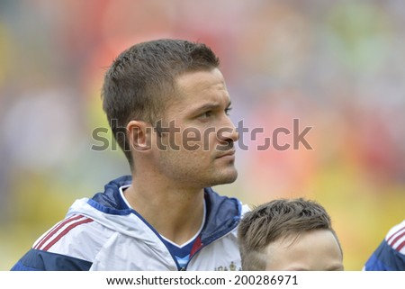 RIO DE JANEIRO, BRAZIL - June 22, 2014: Victor FAYZULIN of Russia before the World Cup Group H game between Belgium and Russia at Maracana Stadium.