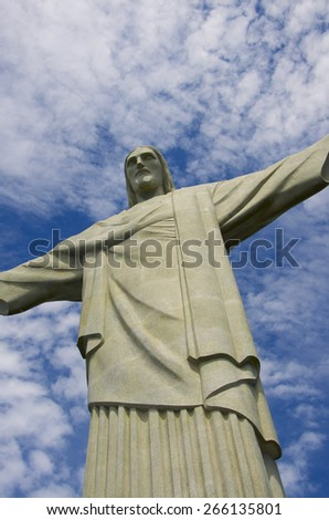 RIO DE JANEIRO, BRAZIL - MARCH 8, 2015 - Christ the Redeemer on Corcovado in Rio de Janeiro Brazil - stock photo