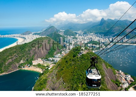RIO DE JANEIRO, BRAZIL - MARCH 28, 2014: Pao de Acucar, with cable car crossing one station to another. - stock photo