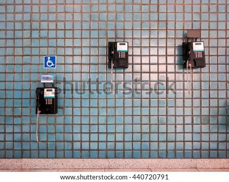 RIO DE JANEIRO, BRAZIL - MARCH 03, 2016 - Public telephones on rio de janeiro airport - access - stock photo