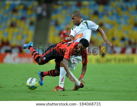RIO DE JANEIRO, BRAZIL - March 26, 2014: Soccer match between Cabofriense  and Flamengo at Maracana during the Carioca Championship