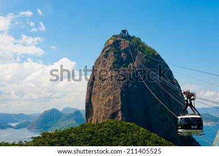 Rio de Janeiro - Brazil, March 28, 2014: Sugar Loaf, with cable car crossing one station to another. - stock photo