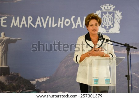 RIO DE JANEIRO, BRAZIL - March 01, 2015: The President of Brazil Dilma Rousseff during tunnel inauguration of the center of the City - stock photo