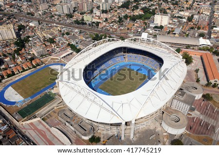 RIO DE JANEIRO, BRAZIL - May 7, 2016- Aerial Photo of the Olympic Stadium Joao Havelange also known as Engenhao.