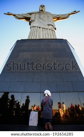 RIO DE JANEIRO, BRAZIL - MAY 06, 2014: tourists at Corcovado christ redeemer  - stock photo