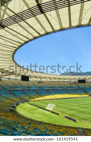 RIO DE JANEIRO, BRAZIL - NOV 03: The new Maracana Stadium on November 03, 2013 in Rio de Janeiro, Brazil. Maracana was remodelled for the World Cup of 2014 from Fifa. - stock photo
