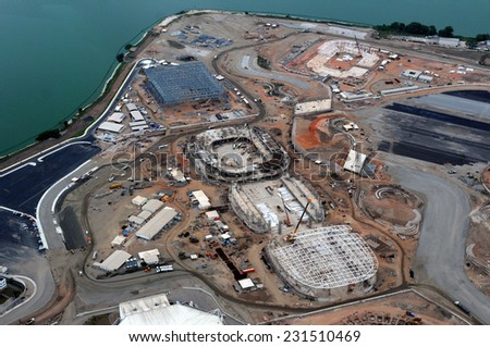 Rio de Janeiro-Brazil , November 15, 2014 The construction site of the Rio 2016 Olympic Park is pictured from above in Rio de Janeiro .