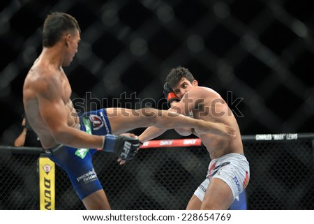 RIO DE JANEIRO, BRAZIL - October 25, 2014: UFC 179 Featherweight Championship rematch between the current champion Brazilian and American  at Ginasio do Maracanazinho.