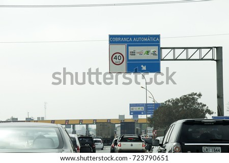 RIO DE JANEIRO, BRAZIL - SEPTEMBER 10th, 2017:  Toll station at President Dutra Highway. Famous road that connects the city o Rio de Janeiro and Sao Paulo, Brazil.