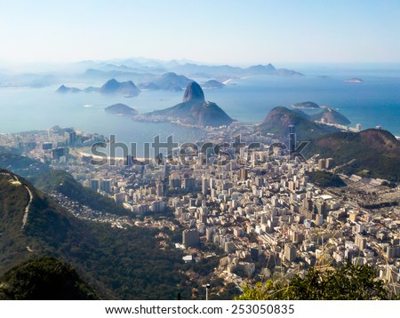Rio de Janeiro, Brazil. Suggar Loaf viewed from Corcovado   - stock photo
