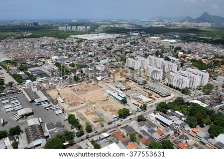 Rio de Janeiro-BrazilJanuary 29, 2016- aerial photographs of works of the olympic center for the 2016 Olympic Games in the city of Ro de Janeiro.