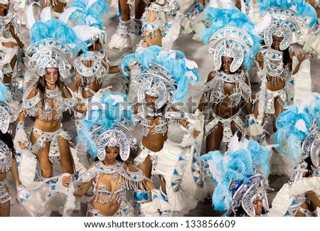 RIO DE JANEIRO - FEBRUARY 11: Performance of people at carnival in Rio de Janeiro at Sambodromo February 11, 2013,  Brazil. The Rio Carnival is biggest carnival in world.