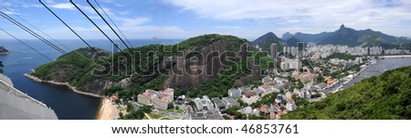 Rio de Janeiro from the top of sugar loaf, Brasil - stock photo