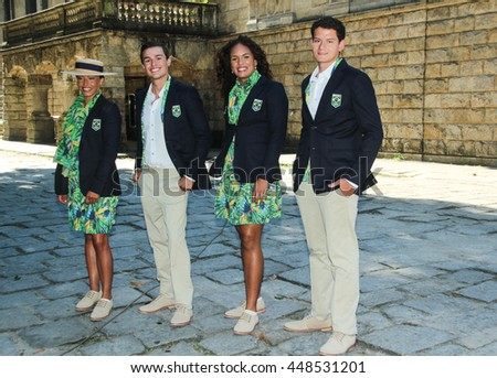 RIO DE JANEIRO, JULY 6, 2016: Brazilian Olympic Games Opening Ceremony Uniform Official Launch.