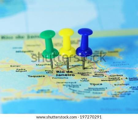 Rio de Janeiro map mark with push pin close up - stock photo
