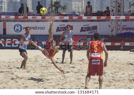 RIO DE JANEIRO - MARCH 09: Game of the teams Spain and Argentina,. Event Mundial de Futevolei 4 X 4 2013,  March 09, 2013 in Rio de Janeiro, Brazil