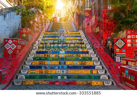 RIO DE JANEIRO - MARCH 9:  Stairway Selaron on March 9, 2014 in Rio de Janeiro, Brazil. - stock photo