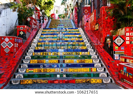 """RIO DE JANEIRO - MARCH 9: Stairway Selaron on March 9, 2012 in Rio de Janeiro, Brazil. It's world-famous work of Chilean artist Jorge Selaron who declared  it as """"my tribute to the Brazilian people"""" - stock photo"""